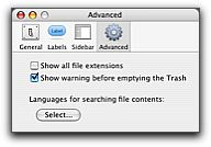 [Finder preferences Advanced tab]